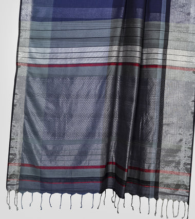 Load image into Gallery viewer, Grey N Blue Khadi Cotton Brocade Saree-Pallu