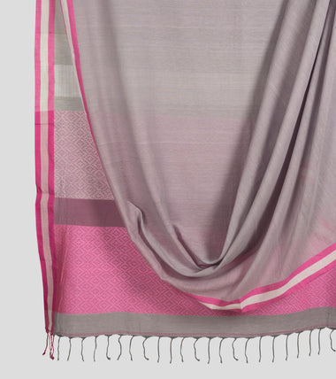 Grey N Pink Khadi Brocade Cotton Saree-Body