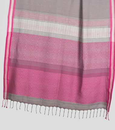 Load image into Gallery viewer, Grey N Pink Khadi Brocade Cotton Saree-Pallu