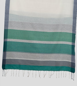 White N Green Khadi Cotton Brocade Saree-Pallu