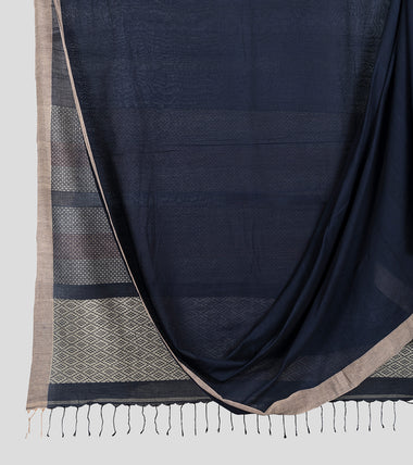 Navy Blue Khadi Cotton Brocade Saree-Body