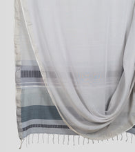 Load image into Gallery viewer, Grey Khadi Cotton Brocade Saree-Body