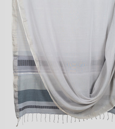 Grey Khadi Cotton Brocade Saree-Body