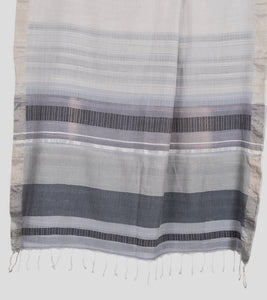 Grey Khadi Cotton Brocade Saree-Pallu