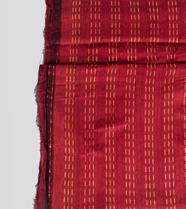 Maroon Khadi Cotton Brocade Saree-Blouse Piece
