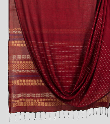 Maroon Khadi Cotton Brocade Saree-Body