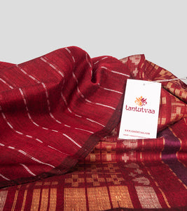 Maroon Khadi Cotton Brocade Saree-Detail