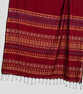 Maroon Khadi Cotton Brocade Saree-Pallu