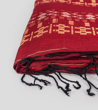 Load image into Gallery viewer, Maroon Khadi Cotton Brocade Saree-Tassel