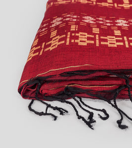 Maroon Khadi Cotton Brocade Saree-Tassel