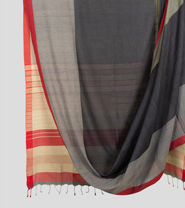 Light Moss Green N Grey Khadi Cotton Saree-Body