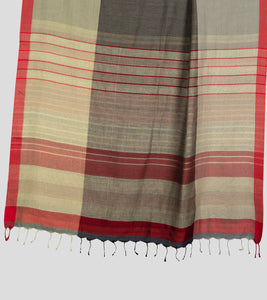 Light Moss Green N Grey Khadi Cotton Saree-Pallu