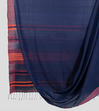 Load image into Gallery viewer, Navy Blue Khadi Cotton Saree-Body