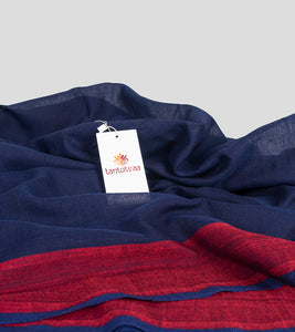 Navy Blue Khadi Cotton Saree-Detail