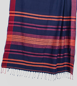 Navy Blue Khadi Cotton Saree-Pallu