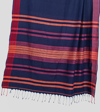Load image into Gallery viewer, Navy Blue Khadi Cotton Saree-Pallu