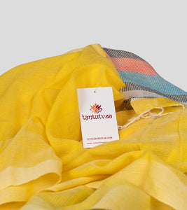 Yellow Khadi Cotton Saree-Detail