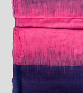 Pink N Blue Khadi Kalakhetra Cotton Saree-Blouse Piece