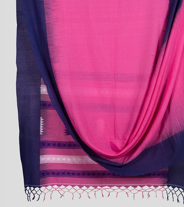 Pink N Blue Khadi Kalakhetra Cotton Saree-Body