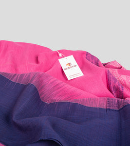 Pink N Blue Khadi Kalakhetra Cotton Saree-Detail