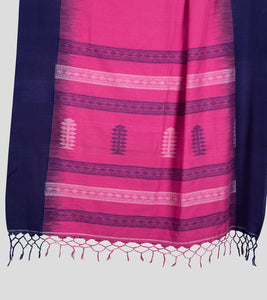 Pink N Blue Khadi Kalakhetra Cotton Saree-Pallu