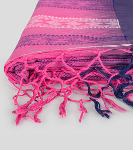 Pink N Blue Khadi Kalakhetra Cotton Saree-Tassel