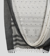 Load image into Gallery viewer, Off White N Black Khadi Kalakhetra Cotton Saree-Body