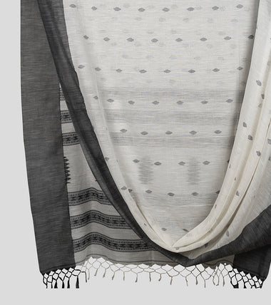 Off White N Black Khadi Kalakhetra Cotton Saree-Body