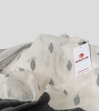 Load image into Gallery viewer, Off White N Black Khadi Kalakhetra Cotton Saree-Detail