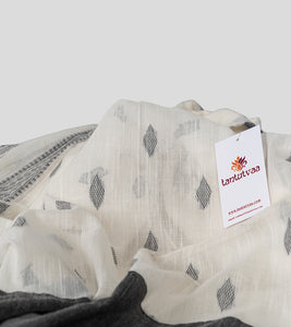 Off White N Black Khadi Kalakhetra Cotton Saree-Detail