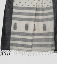 Load image into Gallery viewer, Off White N Black Khadi Kalakhetra Cotton Saree-Pallu