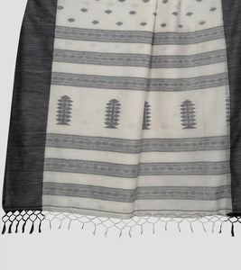 Off White N Black Khadi Kalakhetra Cotton Saree-Pallu