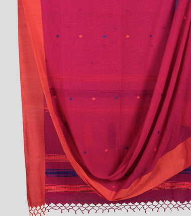 Pink Khadi Kalakhetra Cotton Saree-Body