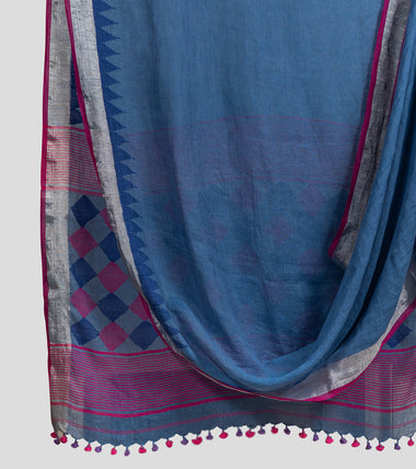 Steel Blue Linen Jamdani Saree-Body