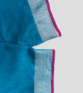 Blue Linen Jamdani Saree-Blouse Piece