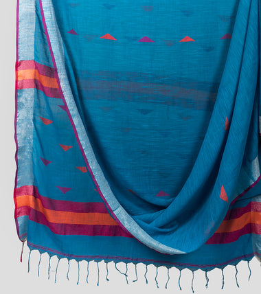 Blue Linen Jamdani Saree-Body