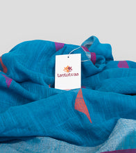 Load image into Gallery viewer, Blue Linen Jamdani Saree-Detail