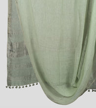 Load image into Gallery viewer, Light Green Linen Zari Saree-Body