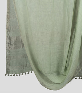 Light Green Linen Zari Saree-Body