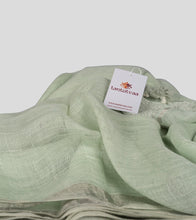 Load image into Gallery viewer, Light Green Linen Zari Saree-Detail