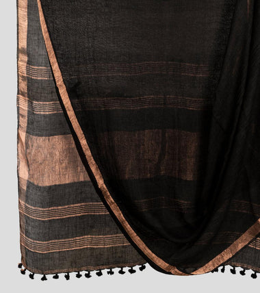 Black Linen Zari Saree-Body