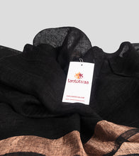 Load image into Gallery viewer, Black Linen Zari Saree-Detail