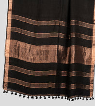 Load image into Gallery viewer, Black Linen Zari Saree-Pallu