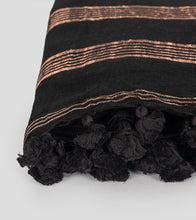 Load image into Gallery viewer, Black Linen Zari Saree-Tassel