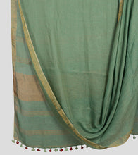 Load image into Gallery viewer, Green Linen Zari Saree-Body