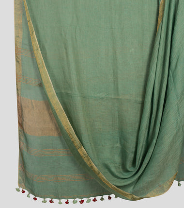 Green Linen Zari Saree-Body