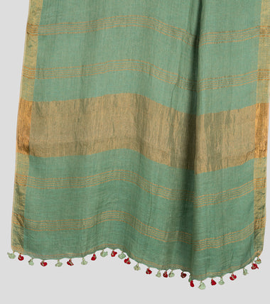 Load image into Gallery viewer, Green Linen Zari Saree-Pallu