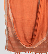 Load image into Gallery viewer, Orange Linen Zari Saree-Body