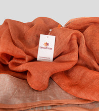 Load image into Gallery viewer, Orange Linen Zari Saree-Detail