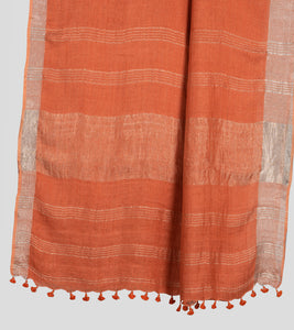 Orange Linen Zari Saree-Pallu